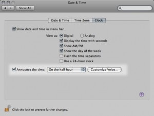 Activate Mac OS X setting for speaking the time aloud on the half-hour