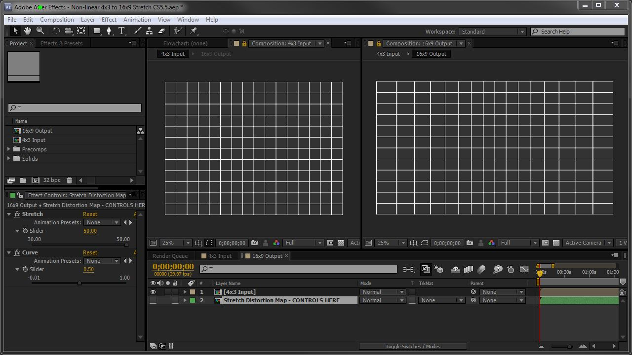 After Effects UI showing the non-linear stretch project
