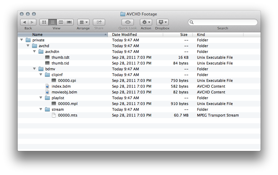 Renaming to lowercase preserves the names, but prevents OS X 10.8 from displaying the AVCHD folder structure as a package.