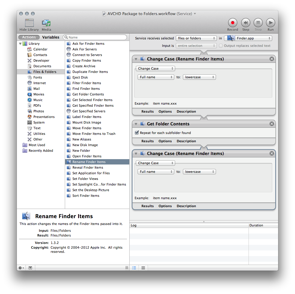 Screenshot of the AVCHD Package to Folders workflow